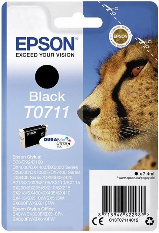 Epson Ink/t0711 Cheetah 7.4ml BK (Schwarz)
