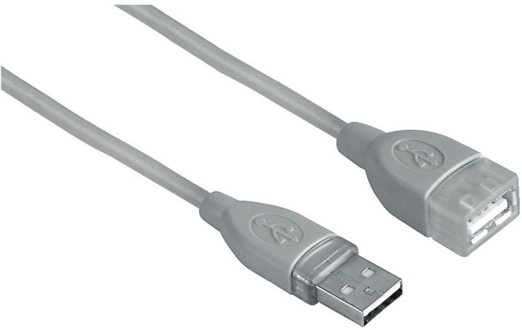 Hama USB-2.0-Verlängerungskabel, geschirmt, Grau, 0,25 39722